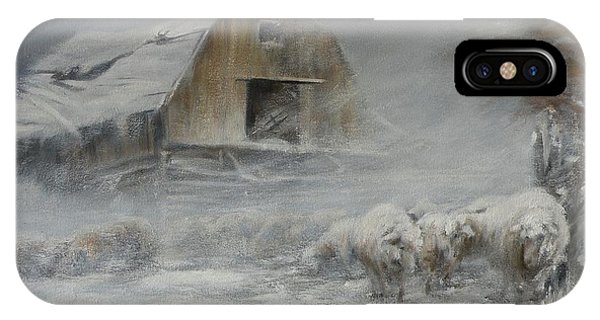 Barn Snow iPhone Case - Waiting Out The Storm by Mia DeLode