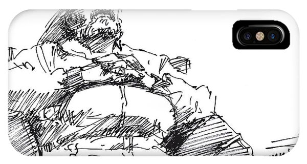 Sketch iPhone Case - Waiting Room Nap Sketch by Ylli Haruni