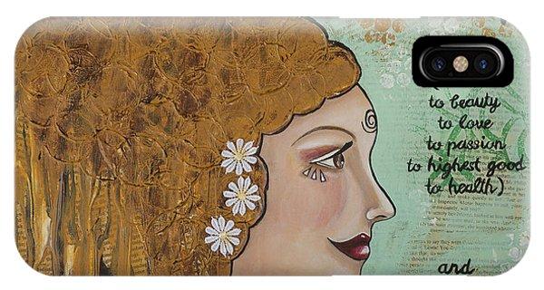 Wake Up Inspirational Mixed Media Folk Art IPhone Case