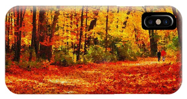 Walk In An Autumn Park IPhone Case