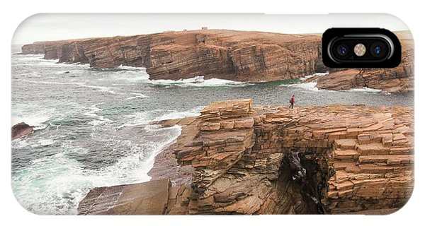 Geo iPhone Case - Walker Crossing A Sea Arch by Ashley Cooper