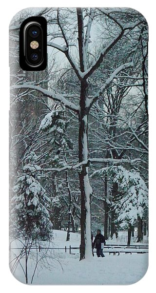 Walking In Snowy Central Park At Dusk IPhone Case