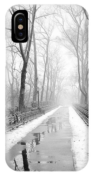 Walkway Snow And Fog Nyc IPhone Case