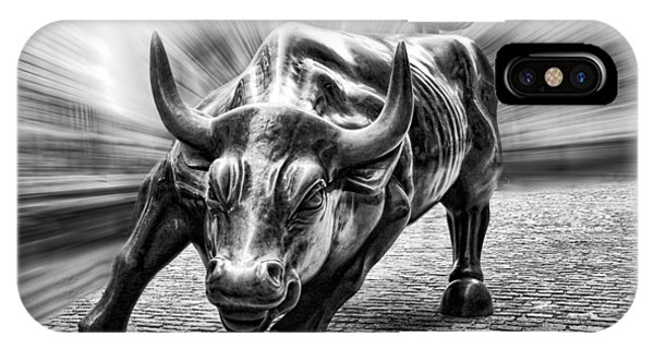 Wall Street Bull Black And White IPhone Case