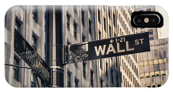 Street Sign iPhone Case - Wall Street Sign by Garry Gay