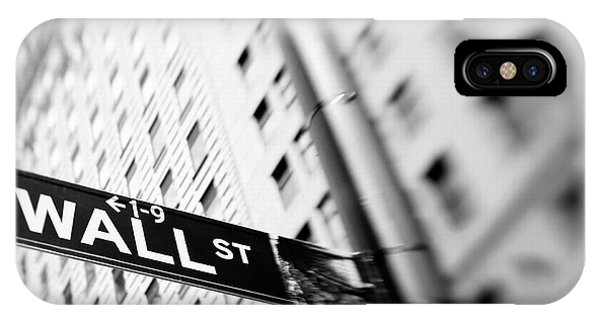 Street Sign iPhone Case - Wall Street Street Sign by Tony Cordoza