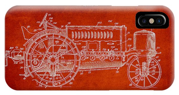 Wallis Tractor Patent Drawing From 1916 - Red IPhone Case