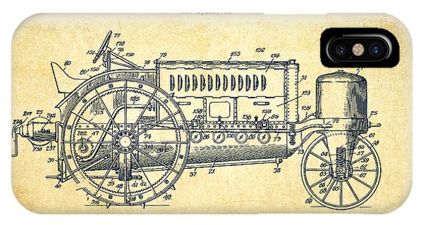 Wallis Tractor Patent Drawing From 1916 - Vintage IPhone Case