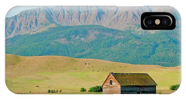 Wheeler Farm iPhone Case - Wallowa Mountains And Barn In Field by Nik Wheeler