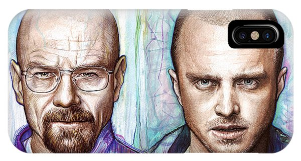 Mixed-media iPhone Case - Walter And Jesse - Breaking Bad by Olga Shvartsur