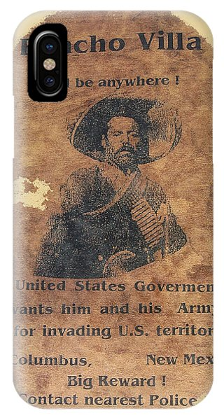 Wanted Poster For Pancho Villa After Columbus New Mexico Raid  IPhone Case