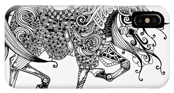 War Horse - Zentangle IPhone Case