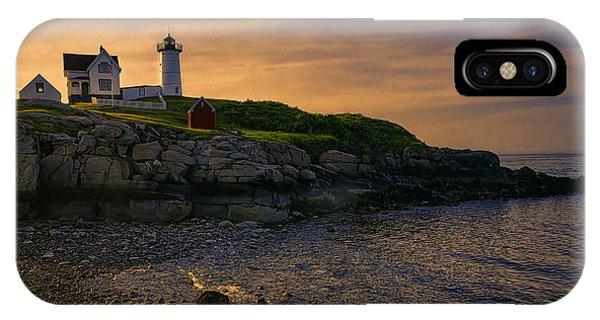 Nubble Light iPhone X Case - Warm Nubble Dawn by Joan Carroll
