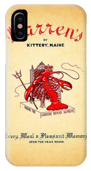 Menu iPhone Case - Warrens Maine 1950s by Mark Rogan