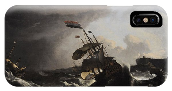 Damage iPhone Case - Warships In A Heavy Storm by Ludolf Bakhuysen