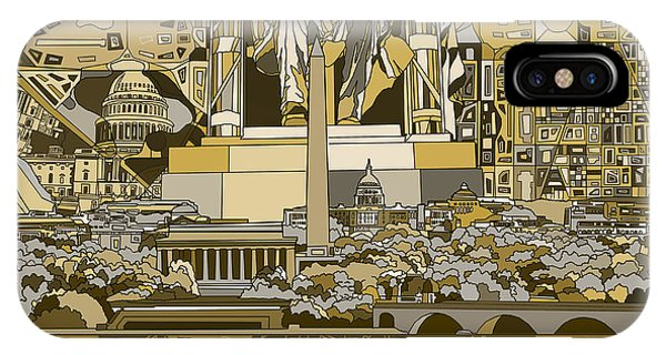 Lincoln Memorial iPhone Case - Washington Dc Skyline Abstract 4 by Bekim Art