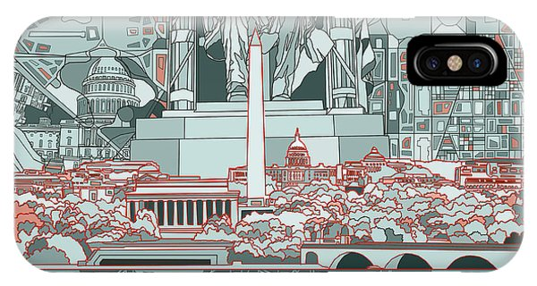 Lincoln Memorial iPhone Case - Washington Dc Skyline Abstract by Bekim Art