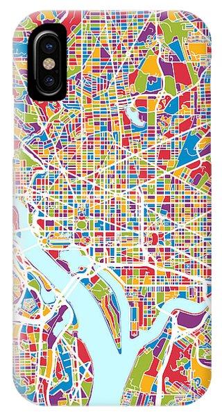 Street iPhone Case - Washington Dc Street Map by Michael Tompsett