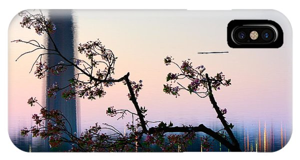 Washington Monument Reflection With Cherry Blossoms IPhone Case