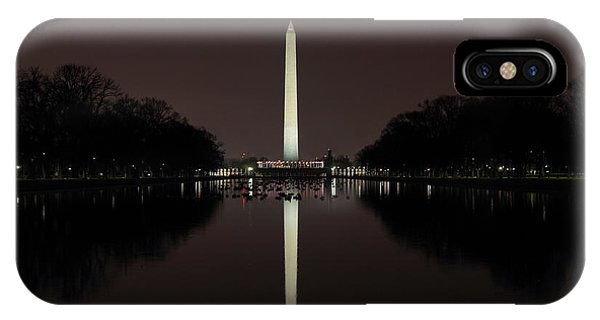 Washington Monument Reflections At Night IPhone Case
