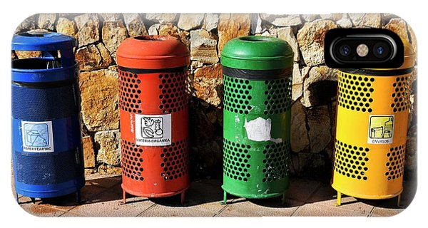 Rubbish Bin iPhone Case - Waste Separation And Recycling Bins by Photostock-israel