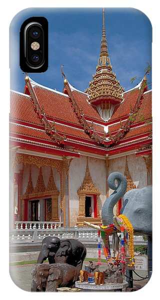 Wat Chalong Wiharn And Elephant Tribute Dthp045 IPhone Case