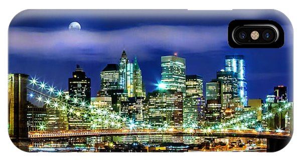 Full Moon iPhone Case - Watching Over New York by Az Jackson