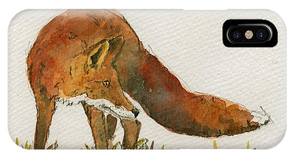 Orange iPhone Case - Watching Red Fox by Juan  Bosco