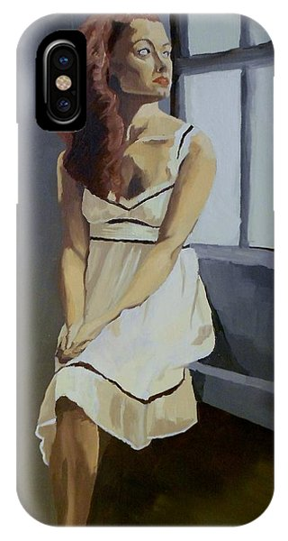 IPhone Case featuring the painting Watching by Stephen Panoushek