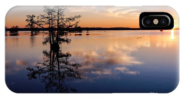 Bald Cypress iPhone Case - Watching The Sunset At Ba Steinhagen Lake Martin Dies Jr. State Park - Jasper East Texas by Silvio Ligutti