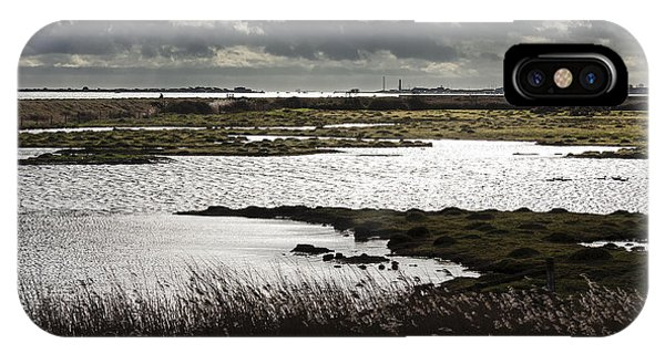 Water Reflection Storm Clouds At Farlington Marshes Wetlands IPhone Case