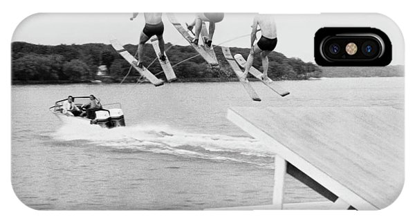 Water Ski iPhone Case - Water Ski Show Jumpers by Underwood Archives
