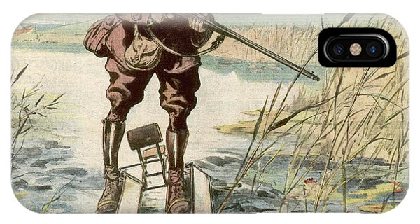 Water Ski iPhone Case - 'water-skis' Help The Hunter  To Hit by Mary Evans Picture Library