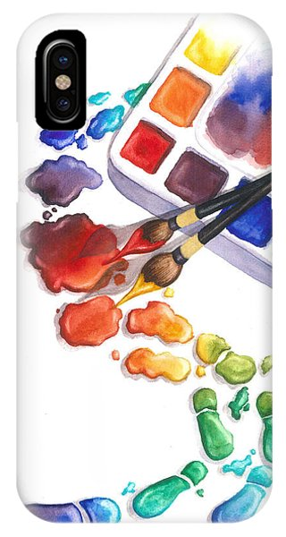 Watercolors iPhone X Case - Watercolor Footprints by Conni  Reinecke