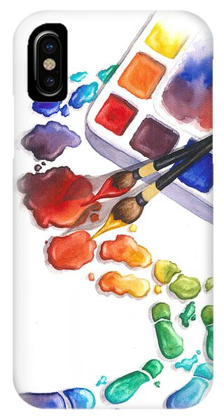 Watercolor Footprints IPhone Case