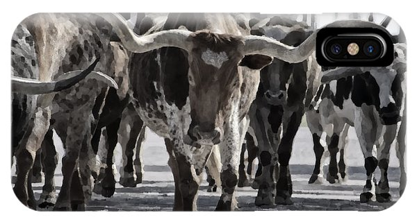 Walk iPhone Case - Watercolor Longhorns by Joan Carroll