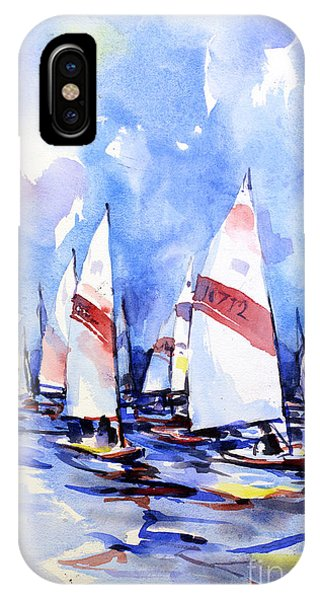 Watercolor Of Scow Boats Racing Torch Lake Mi IPhone Case