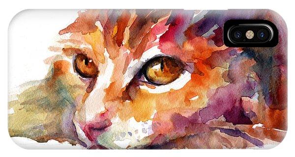 Watercolor Orange Tubby Cat IPhone Case