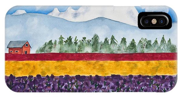 Watercolor Painting Landscape Of Skagit Valley Tulip Fields Art IPhone Case