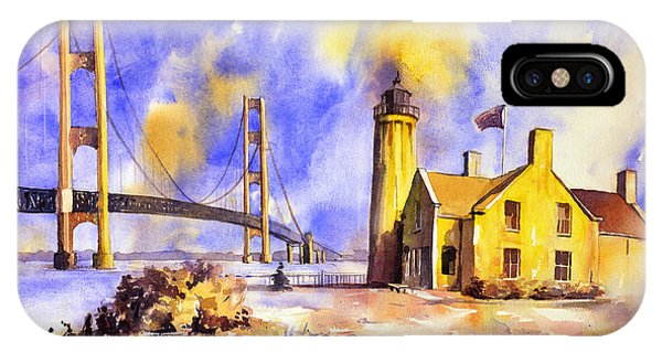 Watercolor Painting Of Ligthouse On Mackinaw Island- Michigan IPhone Case
