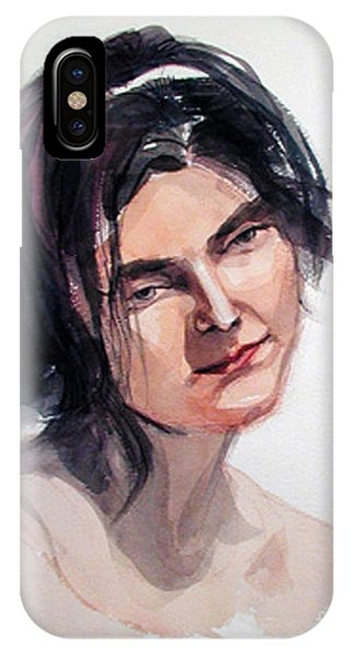 Watercolor Portrait Of A Young Pensive Woman With Headband IPhone Case