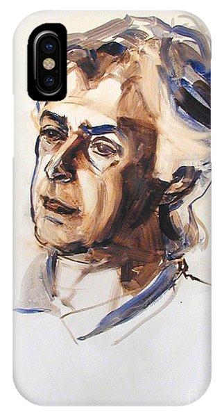 Watercolor Portrait Sketch Of A Man In Monochrome IPhone Case