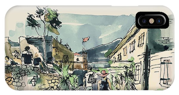 Exterior iPhone Case - Watercolor Sketching Of Budva by Karakotsya