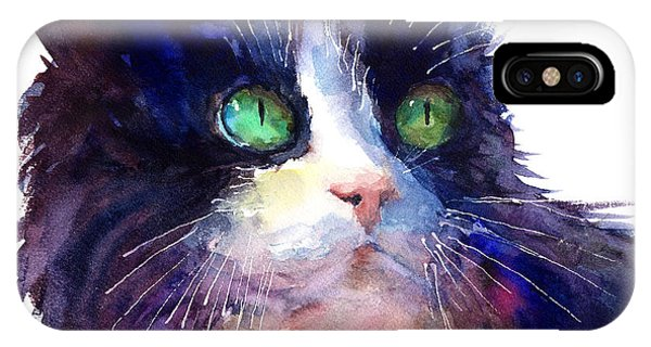 Watercolor Pet Portraits iPhone Case - Watercolor Tuxedo Tubby Cat by Svetlana Novikova