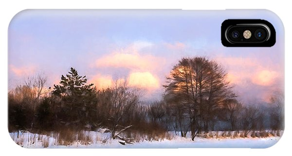 Treeline iPhone Case - Watercolor Winter - Cold And Colorful Day On The Lake by Georgia Mizuleva