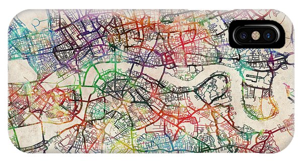 England iPhone Case - Watercolour Map Of London by Michael Tompsett