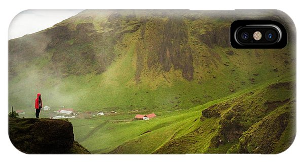 Landscapes iPhone Case - Waterfall And Mountain In Iceland by Matthias Hauser