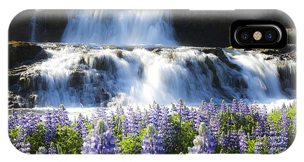 Waterfall With Flowers IPhone Case