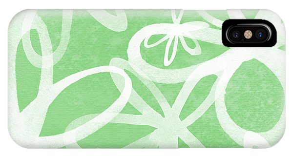 Lime iPhone Case - Waterflowers- Green And White by Linda Woods