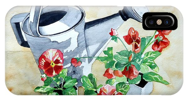 Watering Can With Pansies IPhone Case